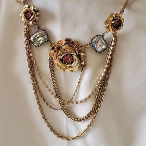 Authentic Betsey Johnson Gold Rose Necklace